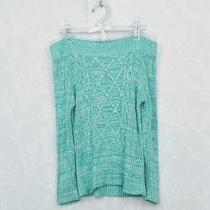 Nine & Co Off the Shoulder Cable Knit Sweater